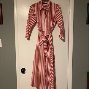 Zara Red and White Stripped Dress